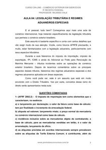 Aula 04 -  COMÉRCIO EXTERIOR EM EXERCÍCIO