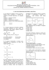 LISTA DE EXERCÍCIOS DE QUÍMICA ORGÂNICA - funções ox e nit 2013.2
