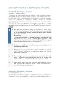 APOL OBJETIVA REGURAS 01 - ESCATOLOGIA E APOCALIPSE
