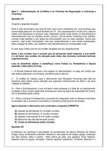Apol 1 – Administração de Conflitos e as Técnicas de Negociação e Liderança e Coaching