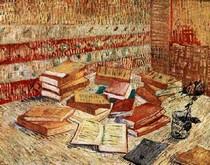 Vincent Willem van Gogh-ainda-vida-com-francês-novelas-e-um-rose
