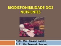 AULA 8 - Biodisponibilidade dos Nutrientes