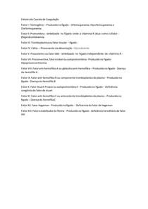 Fatores da Cascata de Coagulação
