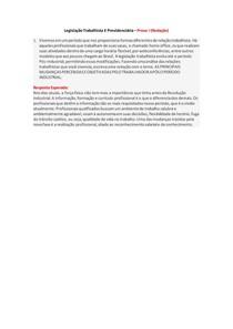 Legislação Trabalhista E Previdenciária - Prova I