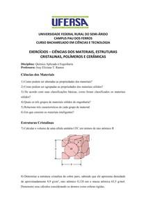 Lista De Exercicios Pdf Iii Unidade 1 Química Aplicada