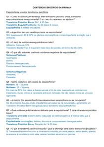 Exercício Psicopatologia I (Quarta Prova)