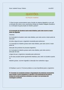 Exercício ( continuação) - Nutrição Humana AV1