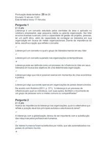Avaliação Online 2 COMPORTAMENTO ORGANIZACIONAL