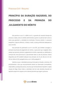 Princípio da razoável duração do processo e da Primazia do julgamento do mérito - Resumo