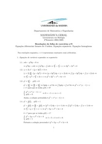 Equações diferenciais lineares de 1aordem. Equações separáveis. Equações homogéneas