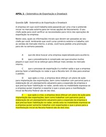 APOL 100% 1, 2, 3, 4, 5 - SISTEMÁTICA DE EXPORTAÇÃO E DRAWBACK