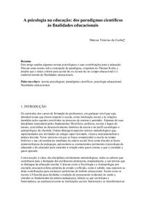 A psicologia na educação dos paradigmas científicos às finalidades educacionais