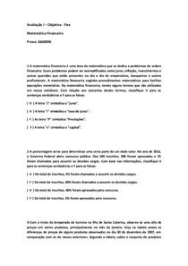 PROVA I MATEMÁTICA FINANCEIRA FLEX 6660096