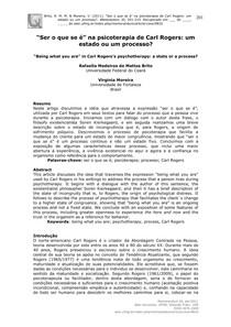 Artigo - Ser o que se é na psicoterapia de Carl Rogers um estado ou um processo