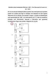 Questão sobre Instalações Elétricas - IBFC Pref Municipal de Cruzeiro do Sul 2019