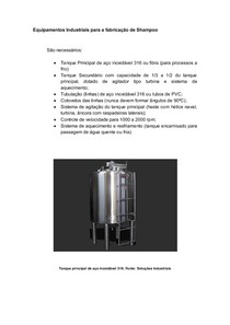 Equipamentos Industriais para a fabricação de Shampoo