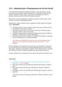 Av2 - Administração e Planejamento em Serviço Social