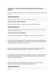 AVALIAÇÃO - projeto politico pedagógico na educação básica