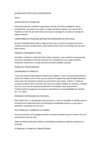 ACUMULAÇÃO CAPITALISTA E QUESTÃO SOCIAL