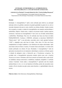 RESUMO ATIVIDADE ANTIMICROBIANA E ANTIBIOFILME DA IMUNOGLOBULINA Y