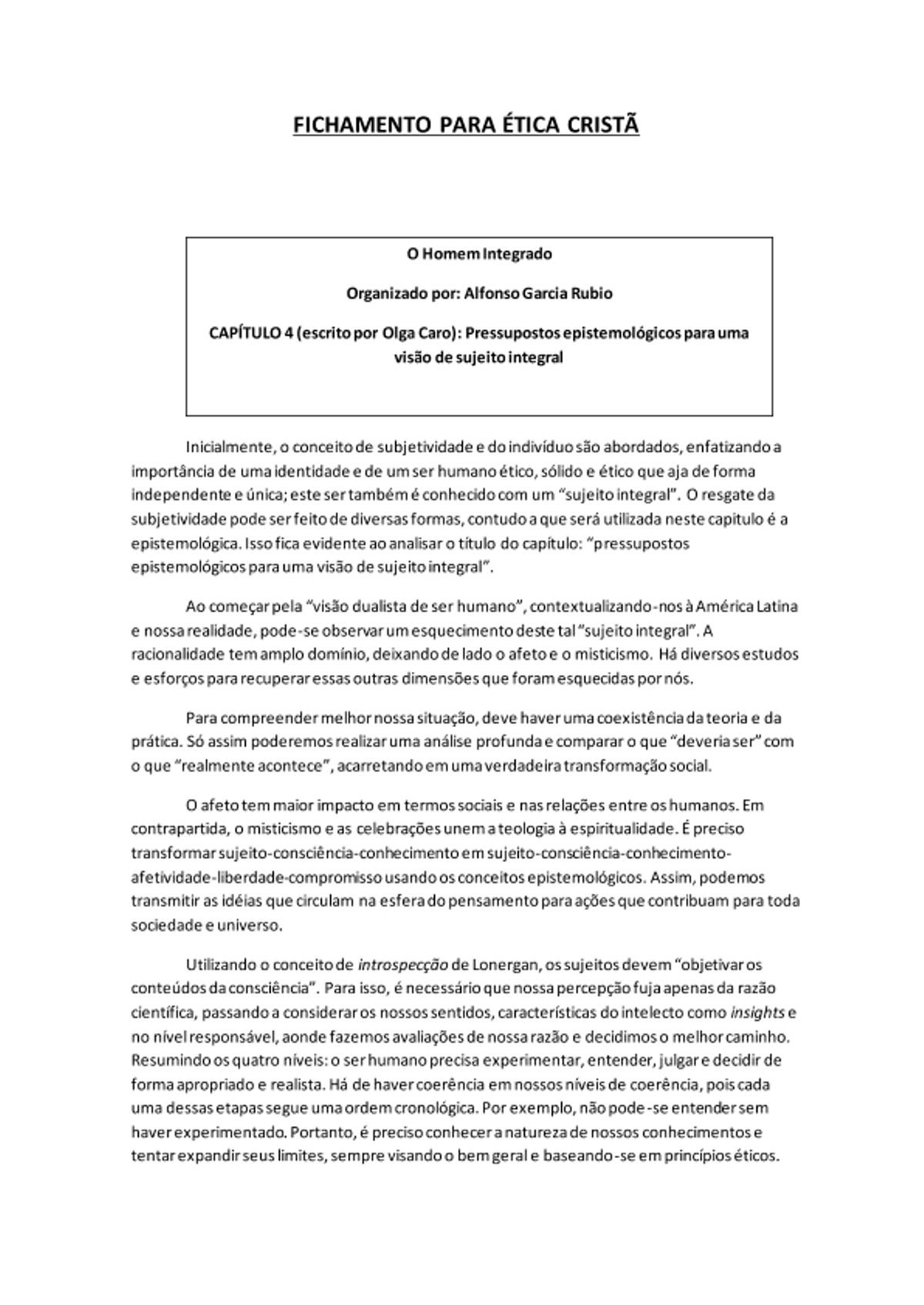 Pre-visualização do material FICHAMENTO PARA ÉTICA CRISTÃ - página 1