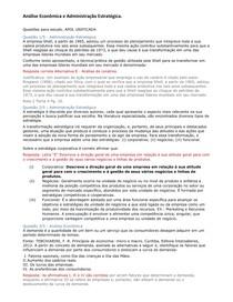 Questões  Objetiva Análise econômica e Administração Estratégica