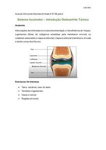 Sistema locomotor Introdução Osteoartrite Társica