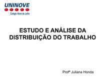 ANALISE DE DISTRIBUIÇÃO DE TRABALHO