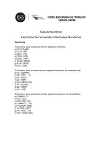 Cálculo Numérico   Lista de Exercícios conversão de bases