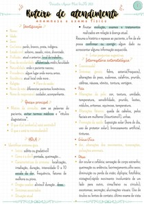 Roteiro de atendimento (anamnese + exame físico)