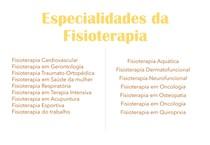 Especialidades da Fisioterapia