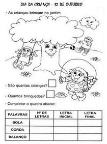 Dia Das Criancas Alfabetizacao Exercicios Desenhos Atividades