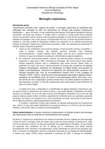 Meningite Criptocócica   Infectologia   UFCSPA