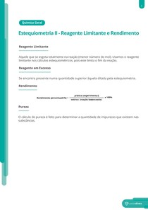 Reagentes limitante e rendimento - Resumo