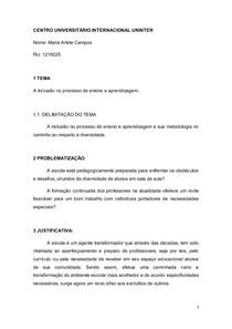 Tcc Projeto A Inclusão No Processo De Ensino Aprendizagem Nota