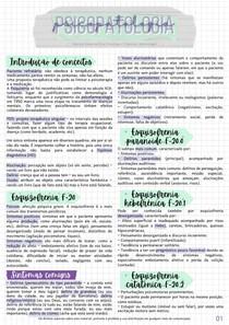 Resumo NP1 e NP2 - Psicopatologia