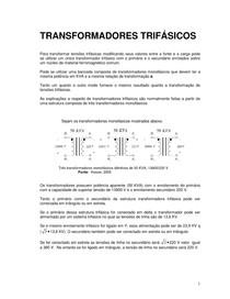 Aula 05 TRANSFORMADORES TRIFÁSICOS - CONEXÕES - VANTAGENS - APLICAÇÕES