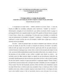 O tempo mítico e o tempo de psicanálise - Eduardo Benzatti do Carmo