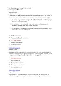 Atividade para avaliação   Semana 3   Sociologia
