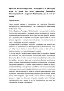 FICHAMENTO PSICODIAGNÓSTICO - DIAGNÓSTICO PSICOLÓGICO E DR. HOUSE - PSICODIAGNÓSTICO - 7° SEMESTRE