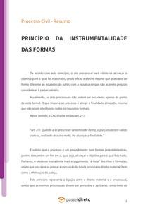 Princípio da instrumentalidade das formas - Resumo