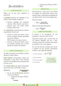 Bioestatística resumo - variáveis, dados, índices etc