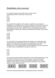 Exercícios probabilidade- Lista 2