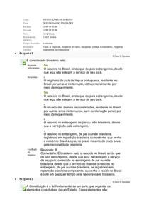 QUESTIONARIO UNIDADE I INSTITUIÇÕES DE DIREITO