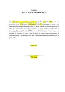 MODELO - DECLARAÇÃO DE HIPOSSUFICIÊNCIA
