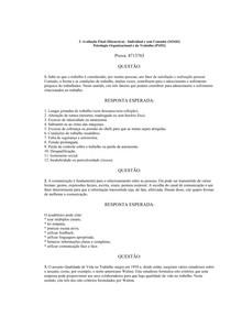 Prova FINAL discursiva Psicologia organizacional e do trabalho