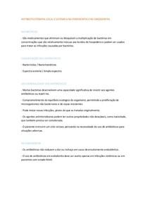 RESUMO DA AULA DE ANTIBIOTICOTERAPIA LOCAL E SISTEMICA NA PERIODONTIA E NA ENDODONTIA