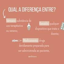 diferença entre fármaco, remédio e medicamento