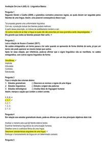 AOL 4 - Linguística Básica - UNINASSAU - 2020 1