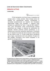 Lista de Exercícios de Física do Enem Sobre Calorimetria - Parte 8